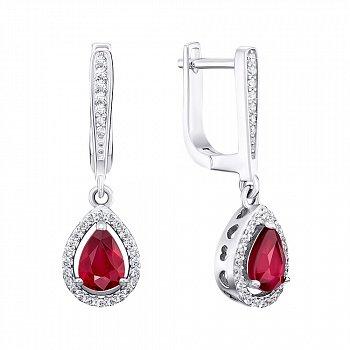 Серебряные серьги-подвески с рубинами и фианитами 000144897