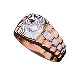 Золотое кольцо-печатка с фианитом Джордж