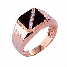Золотое кольцо-печатка с ониксом и фианитами Блэк