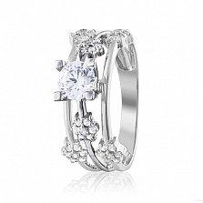 Золотое кольцо Метеор в белом цвете с кристаллами Swarovski