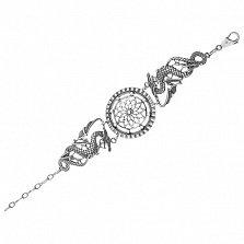 Серебряный браслет Драконья сила с родиевым покрытием