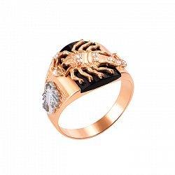 Золотое кольцо Скорпион в комбинированном цвете с ониксом и фианитами