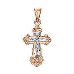 Золотой крестик в комбинированном цвете 000137604