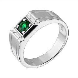 Серебряный перстень с изумрудом 000040328