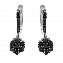 Серьги-подвески из белого золота Камрин с черными бриллиантами