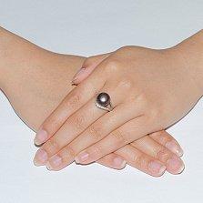 Серебряное кольцо Инесса с черной жемчужиной и фианитами