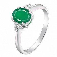 Серебряное кольцо Забвение с синтезированным изумрудом и фианитами