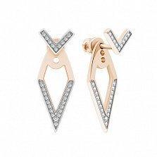 Серебряные позолоченные пуссеты-джекеты Виктория с фианитами