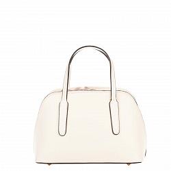 Миниатюрная кожаная сумка Genuine Leather 8672 молочного цвета на кулиске, с металлическими ножками