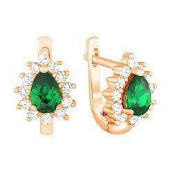 Позолоченные серебряные серьги с зелеными фианитами 000029147