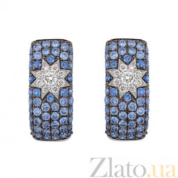Золотые серьги с сапфирами и бриллиантами Элла 1С759-0282
