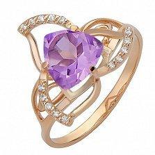 Золотое кольцо Джата с аметистом и фианитами