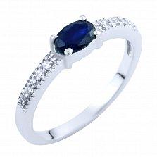 Серебряное кольцо Фаиза с сапфиром и фианитами