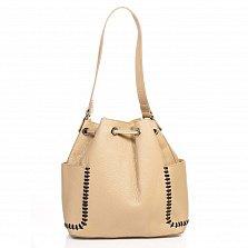 Кожаная сумка на каждый день Genuine Leather 8926 пшеничного цвета на кулиске, с нашивными карманами