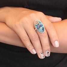 Серебряное кольцо Мозаика с лазуритом и бирюзой