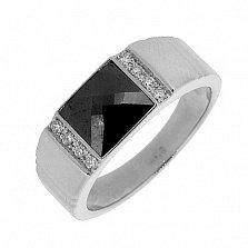 Серебряный перстень Гела с ониксом и бриллиантами