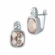 Серебряные серьги Дебора с завальцованными нано морганитами и узорными элементами