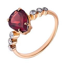 Золотое кольцо Кровавая капля с гранатом и завальцованными фианитами