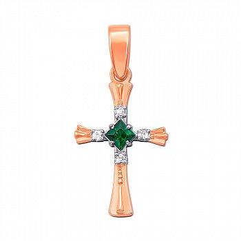 Декоративный крестик из красного золота с изумрудом, бриллиантами и родированием  000131126