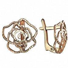 Золотые сережки Чайная роза с фианитами