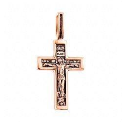 Крестик в красном золоте Верность традициям с чернением 000117569