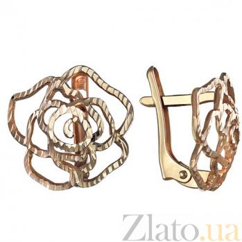 Золотые сережки Чайная роза TNG--400191