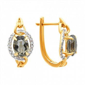 Золотые серьги в комбинированном цвете с раухтопазами и бриллиантами 000139441