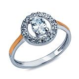 """Кольцо из серебра с золотом и белым цирконием """"Колизей"""""""