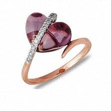 Кольцо Селина из красного золота с аметистом и бриллиантами