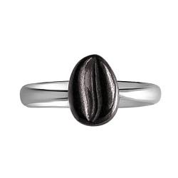 Серебряное кольцо Черный кофе с зернышком и чернением