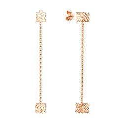 Серьги-подвески из красного золота с алмазной гранью 000137497