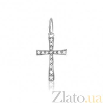 Серебряный крестик с фианитами Блеск счастья 000025286