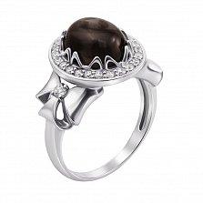 Серебряное кольцо Ампир с дымчатым кварцем, фианитами и бантиками на шинке