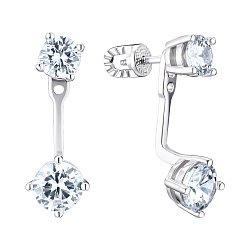 Срібні сережки-джекети з фіанітами 000148150