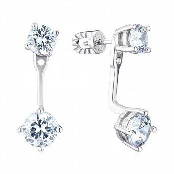 Серебряные серьги-джекеты с фианитами 000148150