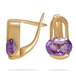 Золотые серьги Эллиптика с синтезированным аметистом