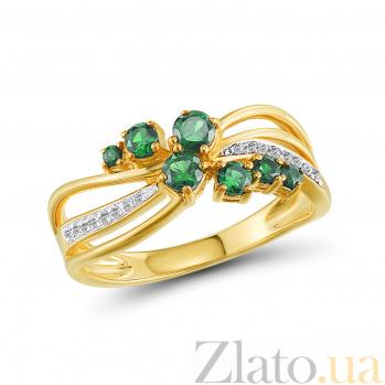 Кольцо из желтого золота Изабелла с изумрудами и бриллиантами 000045921