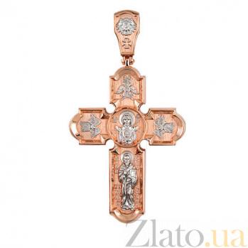 Золотой крестик с белым родированием Животворящий VLT--КС3018-2
