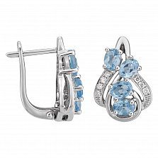 Серьги в белом золоте Амина с голубым топазом и бриллиантами