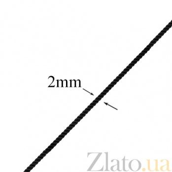 Коттоновый черный шнурок с серебряным замком Лорэнс PTL--7ц079/104