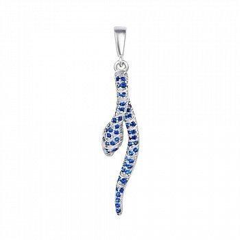Срібний підвіс Змійка з синіми фіанітами 000070104