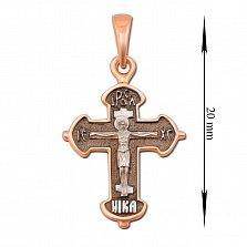 Золотой черненный крестик Мирра на фигурной основе