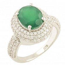 Серебряное кольцо Ингрид с зеленым агатом и фианитами