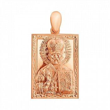 Золотая ладанка Святой Николай Угодник прямоугольной формы с узором по периметру 000103507