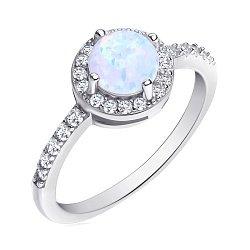 Серебряное кольцо с опалом и фианитами 000139622