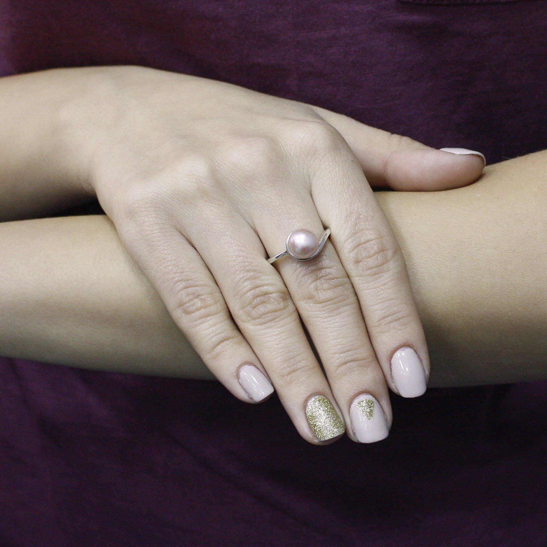 Серебряное кольцо Сабрина с розовым жемчугом