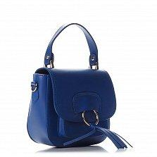 Кожаный клатч Genuine Leather 1524 синего цвета с короткой ручкой, карманом и клапаном на магните