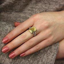 Серебряное кольцо Каравелла с цирконием желтого и белого цвета