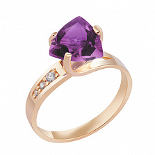 Кольцо в красном золоте Марта с аметистом и фианитами