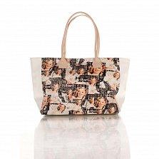 Кожаная сумка на каждый день Genuine Leather 8007 микс с белыми боковыми вставками, на молнии